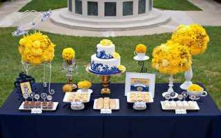 Оригинальное оформление сине-желтой свадьбы: модные тенденции