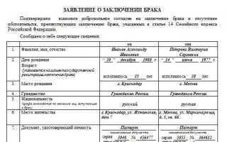 Как правильно написать заявление в ЗАГС на регистрацию брака: образец