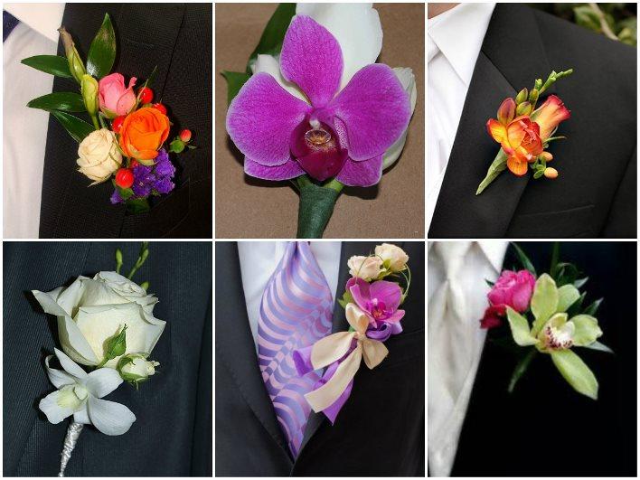 Бутоньерка жениха из роз и орхидей