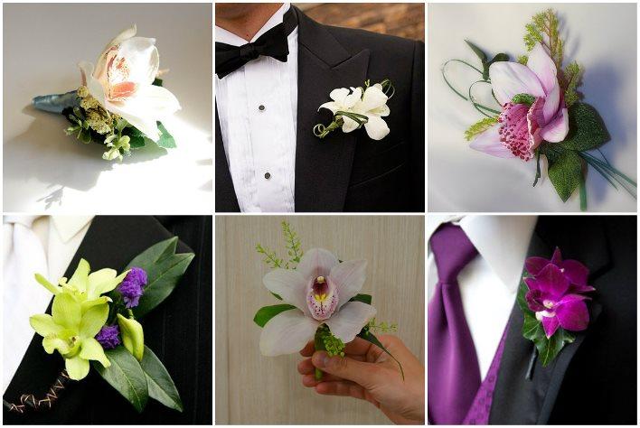Аксессуар для лацкана жениха с орхидеей и зеленью