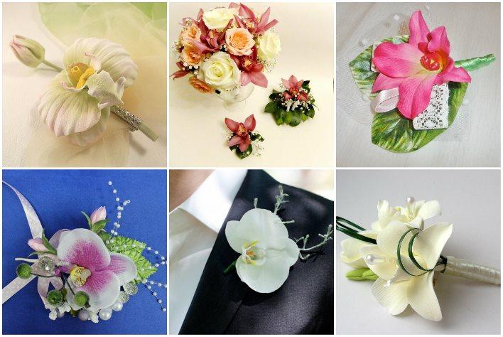 Орхидеи в бутоньерке новобрачного