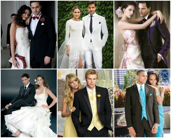 Сочетание свадебного пиджака и платья невесты