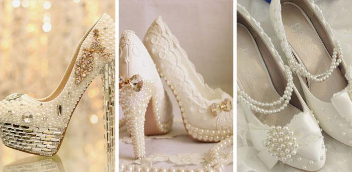 Обувь новобрачнойс жемчугом и большими камнями