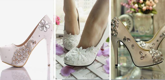 Узоры из украшений на обуви новобрачной