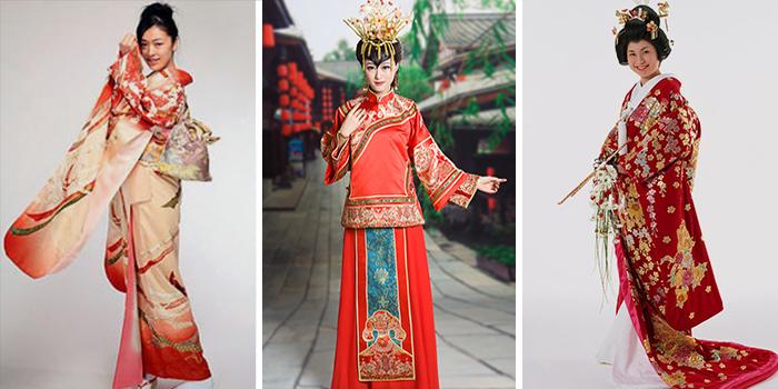Красно-белое кимоно с серебром и золотом
