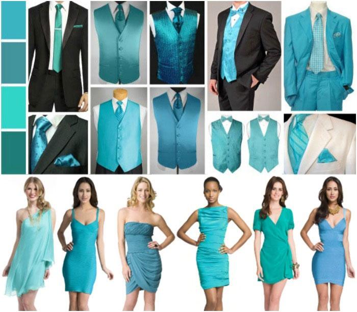 Цветовые решения костюмов для бирюзовой свадьбы