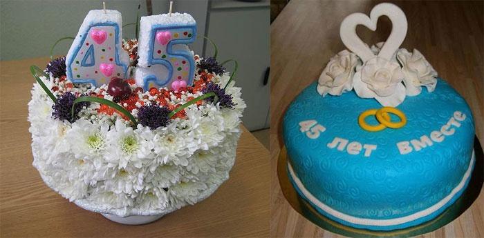 Торт с тематикой сапфировой годовщины