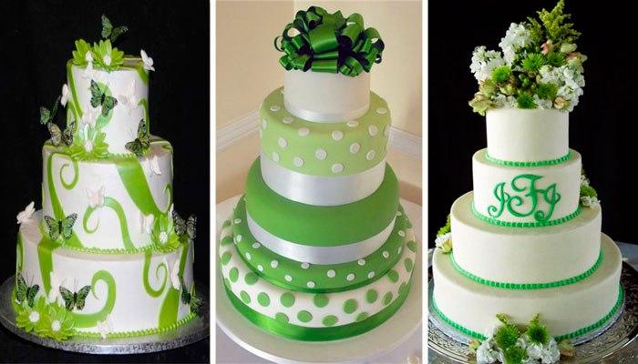 Торт для юбилея в изумрудных тонах