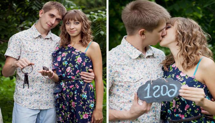 Молодая пара отмечает 1 год совместной жизни