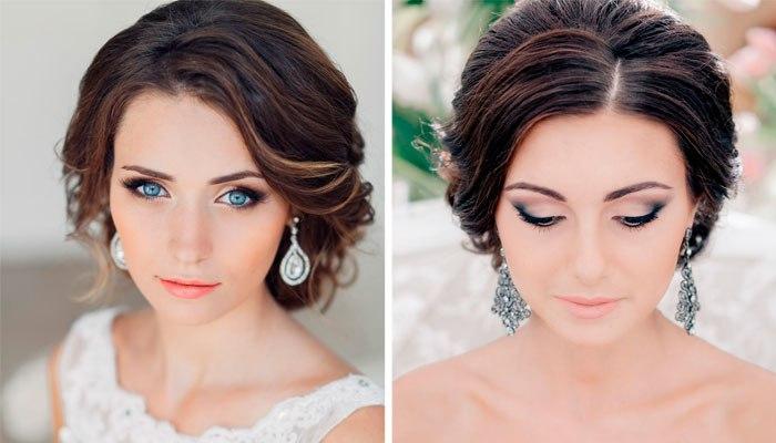 Свадебный макияж со светлой помадой для брюнеток