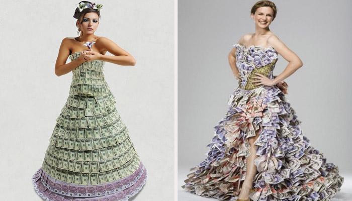 Одежда на свадьбу из денег
