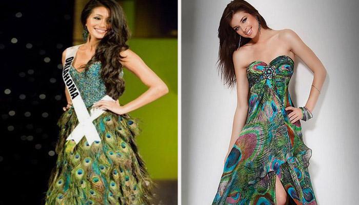 Платья из перьев павлина