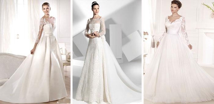 Пышные свадебные платья с кружевными рукавами