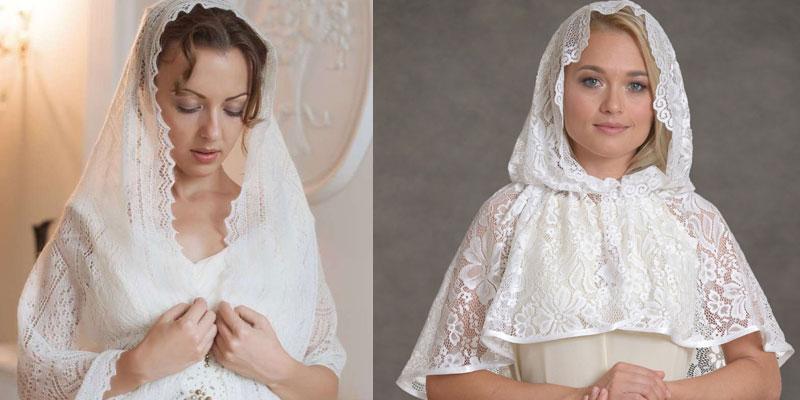 Девушки в платках для венчания