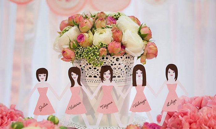 Декорации на девичнике из бумажных миниатюр