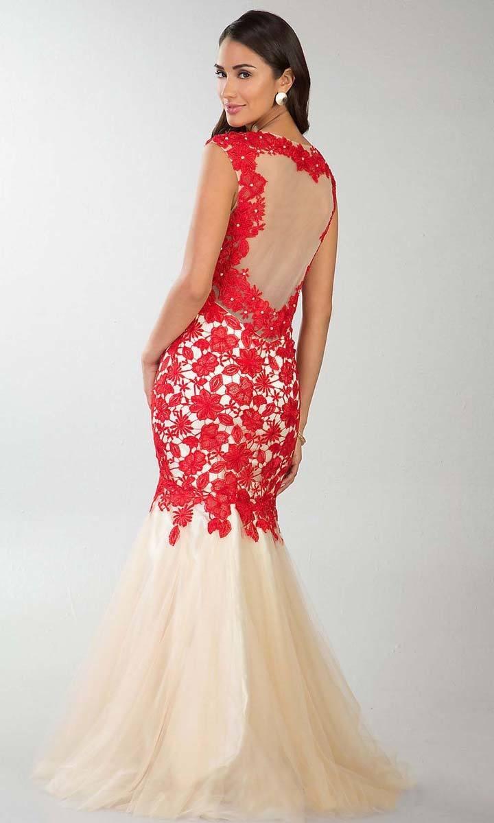 """Свадебное платье """"русалка"""" с красным кружевом"""