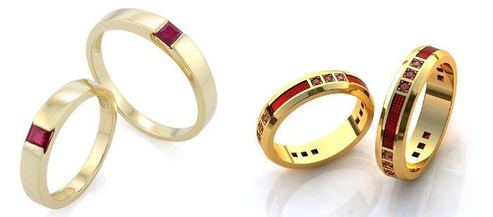 Кольца с рубинами на 100 лет свадьбы