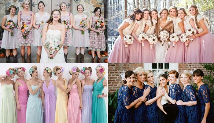 Дружки невесты в одинаковых платьях