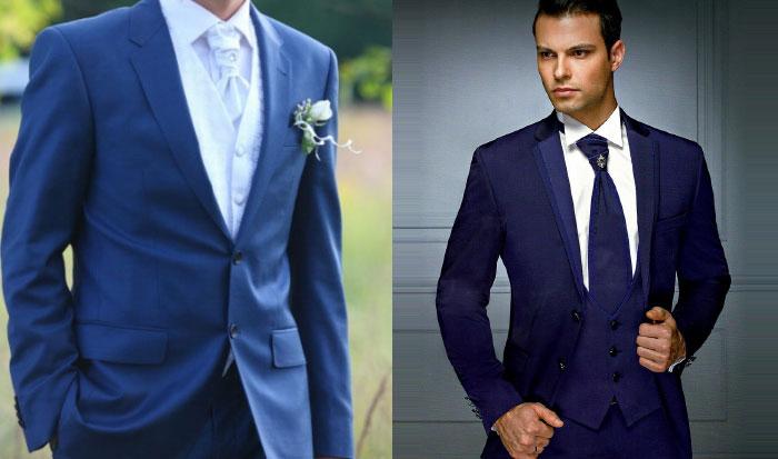 Синий свадебный костюм
