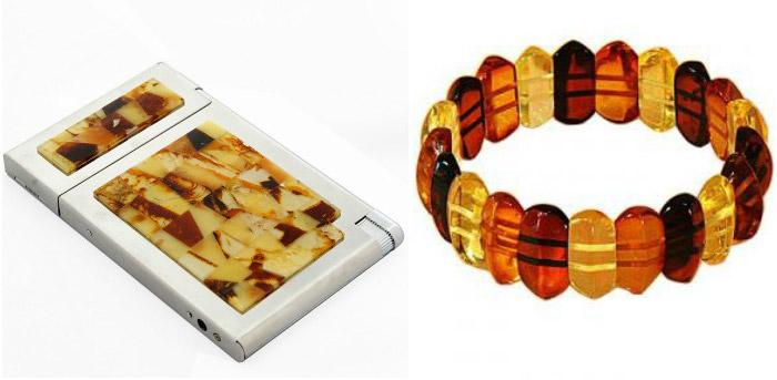 Подарки: янтарный портсигар с зажигалкой и браслет