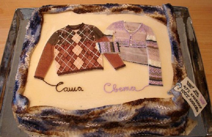 Оригинальный торт на кашемировую свадьбу