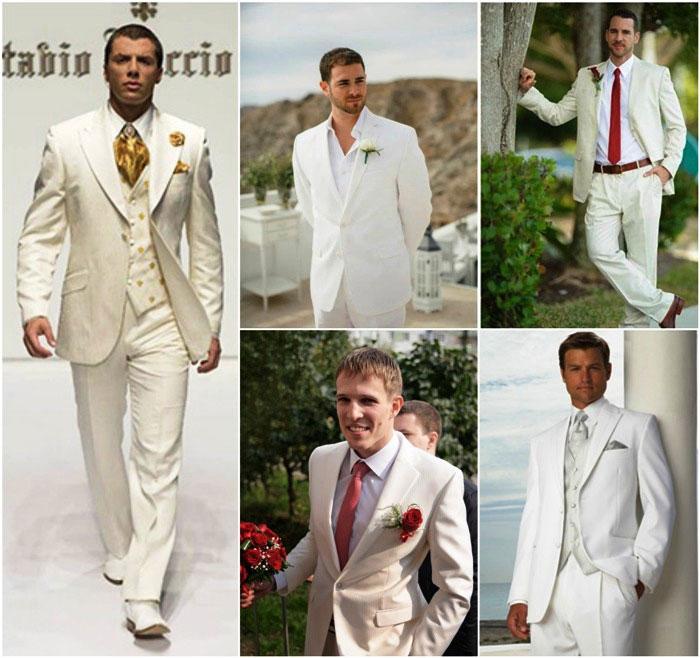 Классический белый наряд жениха