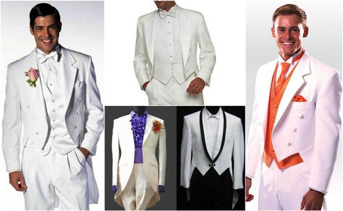 Белый мужской фрак для свадьбы