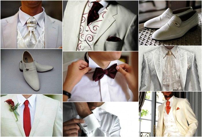 Обувь и аксессуары под белый наряд жениха
