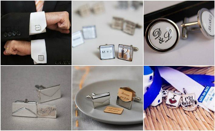 Запонки с надписями и буквами для жениха