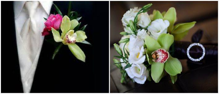 Нежная орхидея и роза для свадебной бутоньерки