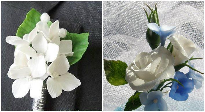 Бутоньерка с гортензией и белой розой