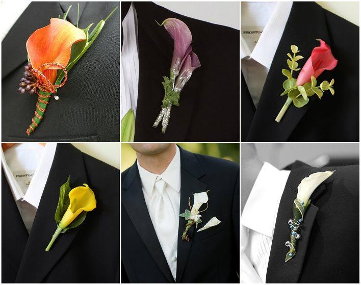 Каллы - основной компонент цветочной композиции для жениха