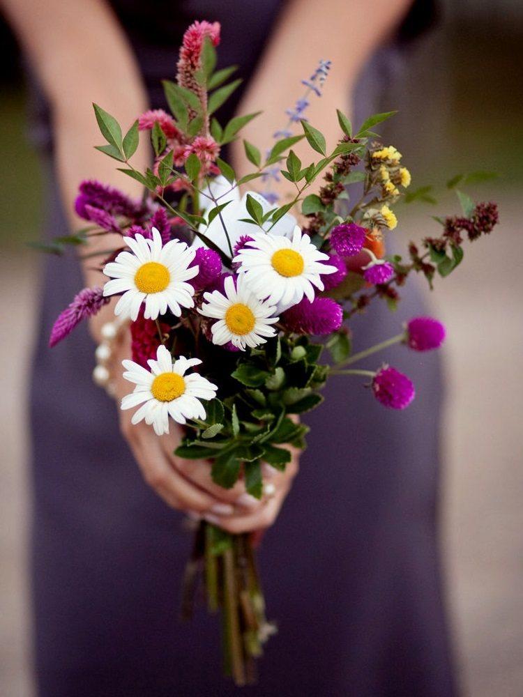Сочетание фиолетовых и белых цветов