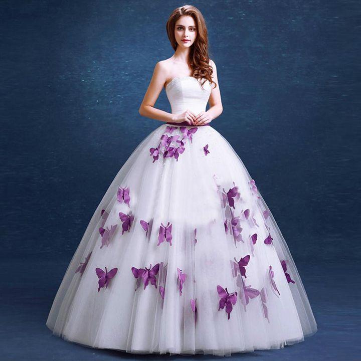Пышное свадебное платье с сиреневым декором
