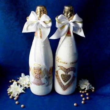 Декупаж бутылок шампанского на свадьбу